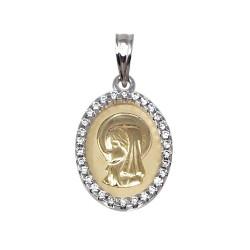 Medalla oro bicolor 9k Virgen Niña 20mm. cerco circonitas centro mate virgen brillo
