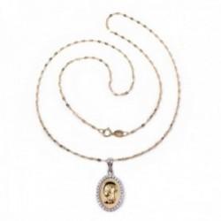 Colgante oro 18k medalla Virgen Niña bicolor cerco circonitas cadena 45cm. maciza brillo [AC1636]