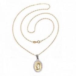 Colgante oro 18k medalla Virgen Niña bicolor cerco circonitas cadena 50cm. maciza tallada [AC1635GR]