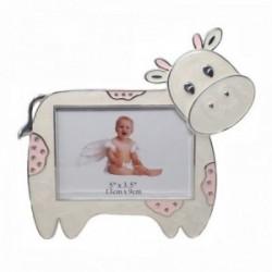 Marco portafotos metálico 9x13cm. vaca rosa circonitas [AC1500]