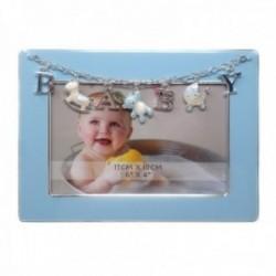 Marco portafotos metálico 10x15cm. BABY azul detalles caballito oso cuna [AC1502]
