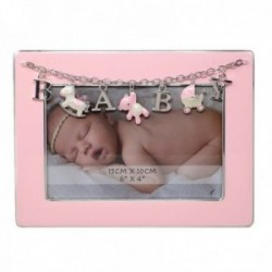 Marco portafotos metálico 10x15cm. BABY rosa detalles caballito oso cuna [AC1503]