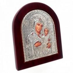 Imagen icono Virgen 12.7cm. María niño Jesús madera metal plateado piedras rojas [AC1510]