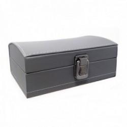 Joyero baul 16.5cm. gris polipiel cierre metálico ancho 11.2cm. [AC1514]