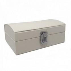 Joyero baul 16.5cm. blanco polipiel cierre metálico ancho 11.2cm. [AC1515]