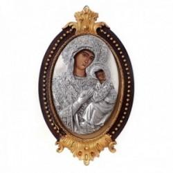 Imagen icono 13.5cm. Virgen María niño Jesús madera pintada [AC1518]
