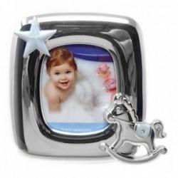 Marco portafotos metálico 8x8cm. azul detalles caballito estrella  [AC1519]