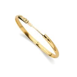 Pulsera oro 18k aro media caña hueca tallada 5mm. diámetro 60mm. mujer [5670]