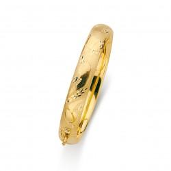 Pulsera oro 18k aro media caña hueca tallada 10mm. diámetro 60mm. mujer [5695]