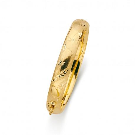 Pulsera oro 18k aro media cana hueca tallada 10mm. [5695]