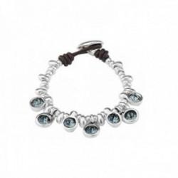 Pulsera Unode50 Tesoro PUL1832AZUMTL0M metal chapado plata charm cristales Swarovski® azul [AC1640]