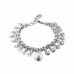 Pulsera Unode50 Texcoco PUL1812BPLMTL0M metal chapado plata charm medallones perla blanca [AC1642]