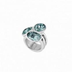 Sortija Unode50 Tesoro ANI0591AZUMTL0L metal chapado plata talla 14 cristal Swarovski® azul [AC1645]