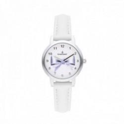 Reloj Radiant niña Valentina All White RA497602 correa blanca esfera lazo violeta