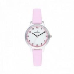 Reloj Radiant niña Viola White Pink RA508601 correa piel rosa esfera blanca detalles rosas