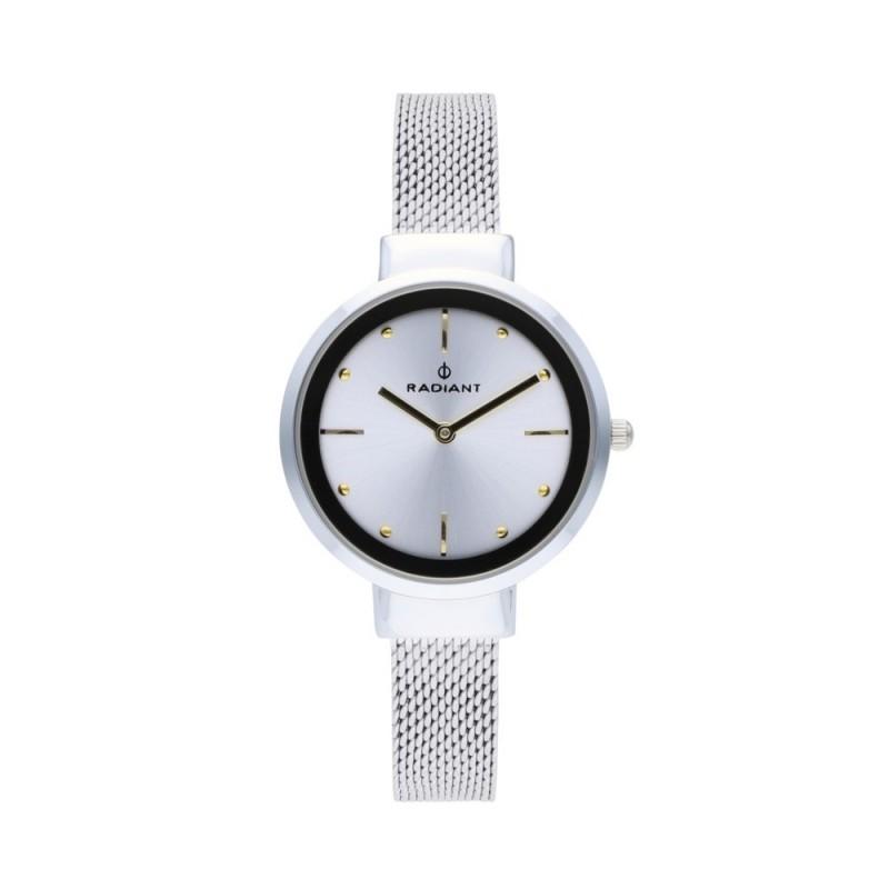 compras ofrecer descuentos encanto de costo Reloj Radiant mujer Iris Silver Gold RA510603 pulsera malla milanesa esfera  plateada [AC1697]