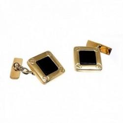 Gemelos oro 18k cuadrados 15mm. centro piedra ónix hombre