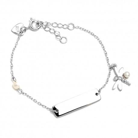 Pulsera plata Ley 925m Agatha Ruiz de la Prada 14cm. niña chapa libélula perlas cierre reasa