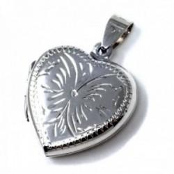 Colgante plata Ley 925m guardapelo 24mm. forma corazón liso tallado ambas caras iguales abierto