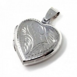 Colgante plata Ley 925m guardapelo forma corazón 24mm. liso tallado ambas caras iguales abierto