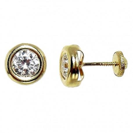 Pendiente oro tornillo circonita [4837]