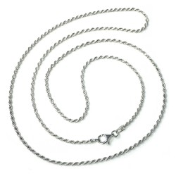 Cadena plata Ley 925m 60cm. cordón ancho 1.70mm. liso reliado unisex mosquetón