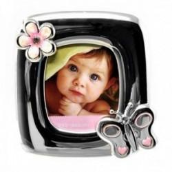 Marco portafotos metálico fotografía 8x8cm. bebé rosa detalles mariposa flor