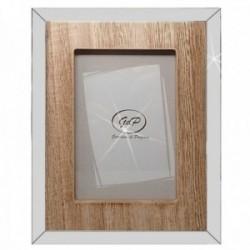 Marco portafotos metálico fotografía 10x15cm. imitación madera superficie brillante