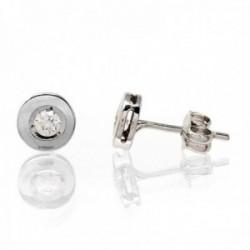 Pendientes oro blanco 18k 6mm. diamantes brillantes 0,16ct diámetro 2.7mm. niña