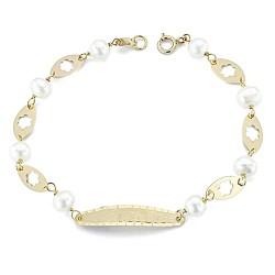Esclava oro 18k 17cm. perlas cultivadas reasa [7962]