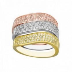 Sortija plata Ley 925m tricolor anillos separados circonitas mujer rosa plateado dorado