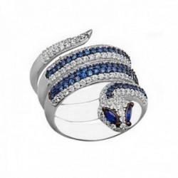 Sortija plata Ley 925m mujer serpiente reliada piedras azules circonitas