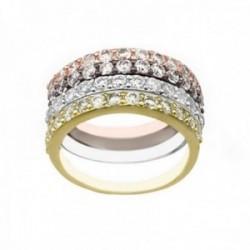 Sortija plata Ley 925m cuatro colores anillos separados circonitas mujer rosa negro plateado dorado