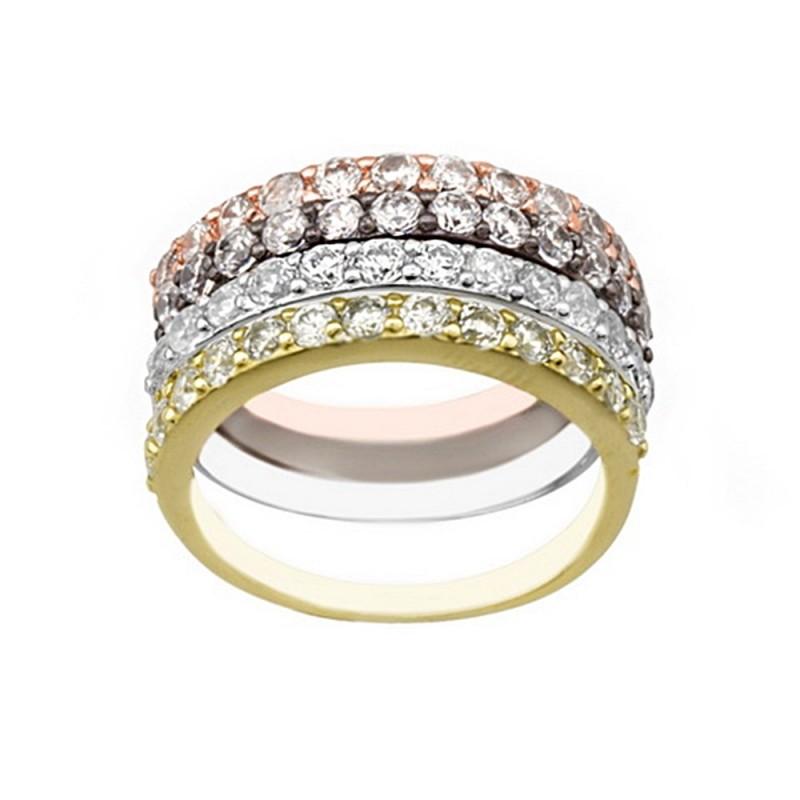 59fbcc7f8884 Sortija plata Ley 925m cuatro colores anillos separados circonitas mujer  rosa negro plateado dorado
