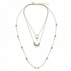 Collar Pertegaz colección Ronda triple cadena rolo mujer aros pequeños bicolor perlas sintéticas