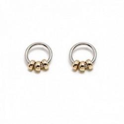 Pendientes Pertegaz colección Ronda aro 19mm. mujer bicolor motivos aros pequeños dorados