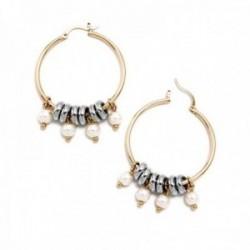 Pendientes Pertegaz colección Ronda aro 48mm. mujer bicolor motivos aros pequeños perlas sintéticas
