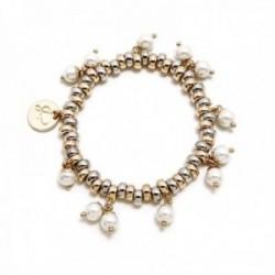 Pulsera Pertegaz colección Ronda mujer elástica bicolor motivo aros pequeños perlas sintéticas