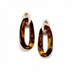 Pendientes Pertegaz colección Carey largos 67mm. mujer dos eslabones dorado carey