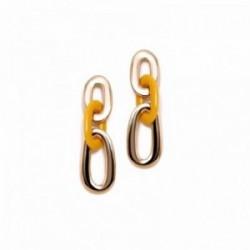 Pendientes Pertegaz colección Carey largos 56mm. mujer tres eslabones dorado mostaza