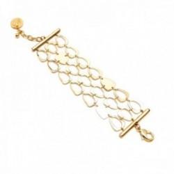 Pulsera Pertegaz colección Cort triple cadena 17cm. mujer motivos dorados eslabones barra lisa
