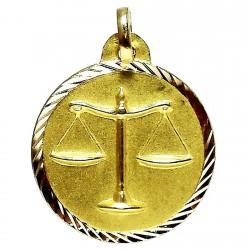 Colgante oro 18k horoscópo Libra medalla [86]