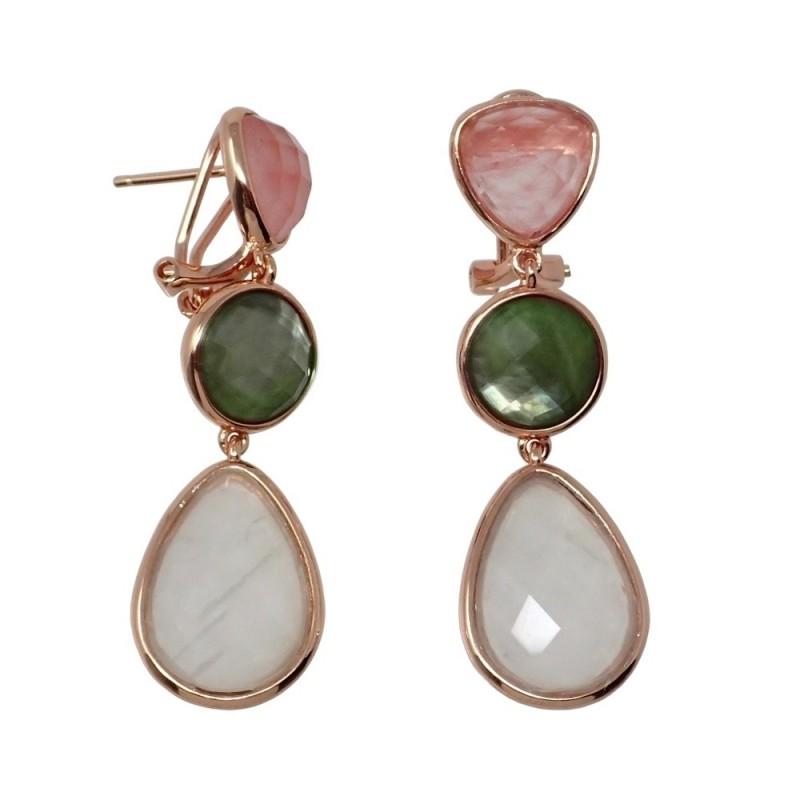 69132e619dee Pendientes plata Ley rosada GLAMOUR 925 piedras naturales ávalon cuarzo  cereza nácar blanco. Loading zoom