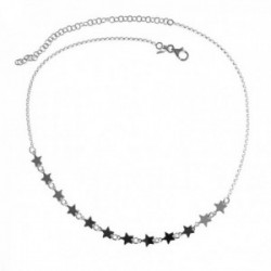 Gargantilla plata Ley 925m. cadena rolo 37cm. mujer motivo estrellas ciere mosquetón