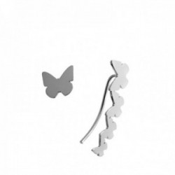Pendientes plata Ley 925m mariposas lisas presión lóbulo izquierdo 9mm trepador 23mm lóbulo derecho