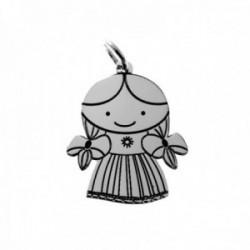 Colgante plata Ley 925m. niña motivo muñeca mexicana 23mm. láser
