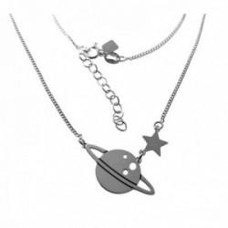 Gargantilla plata Ley 925m. cadena barbada 40cm. mujer motivo planeta Saturno estrella cierre reasa