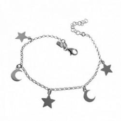 Pulsera plata Ley 925m. cadena rolo 16cm. niña fetiches lunas estrellas cierre mosquetón