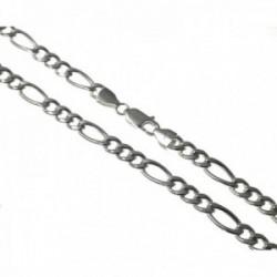 Cadena plata Ley 925m. hueca lisa 60cm. alternada 3x1 cierre mosquetón