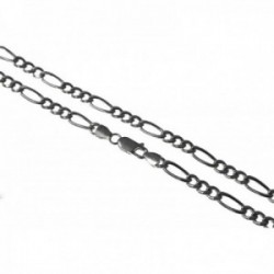 Cadena plata Ley 925m. hueca 60cm. lisa alternada 3x1 cierre mosquetón